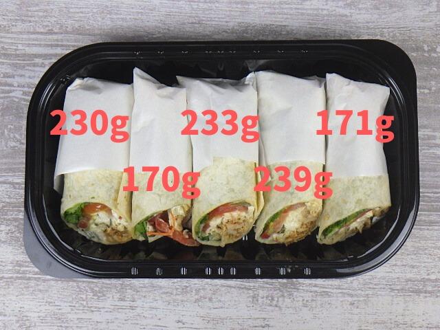 コストコのメキシカンサラダラップの全サイズ