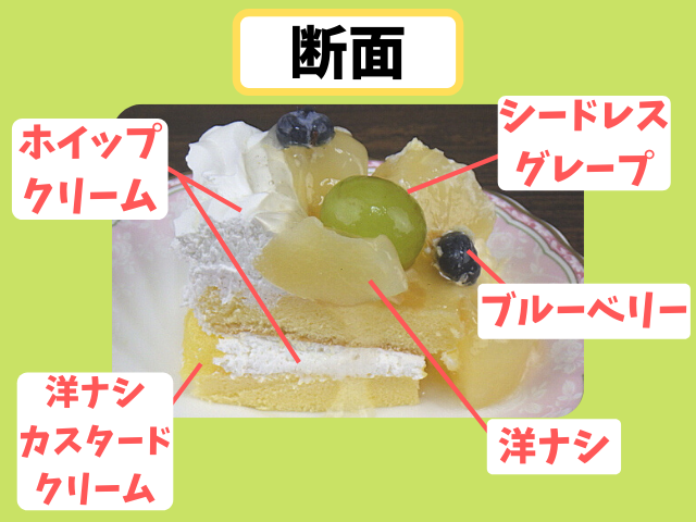 コストコの洋ナシスコップケーキの断面図