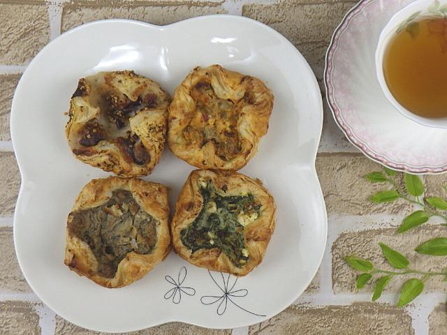 コストコのセイボリーデニッシュの4種類を盛りつけた写真