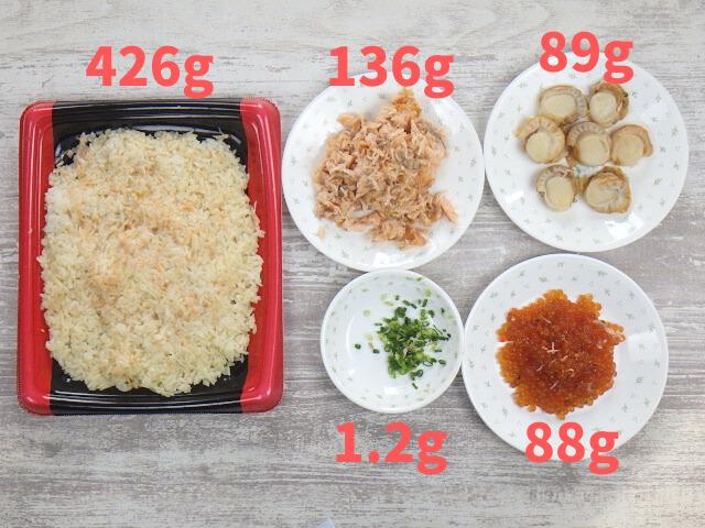 コストコのサーモンいくらちらし寿司の具材の内容量