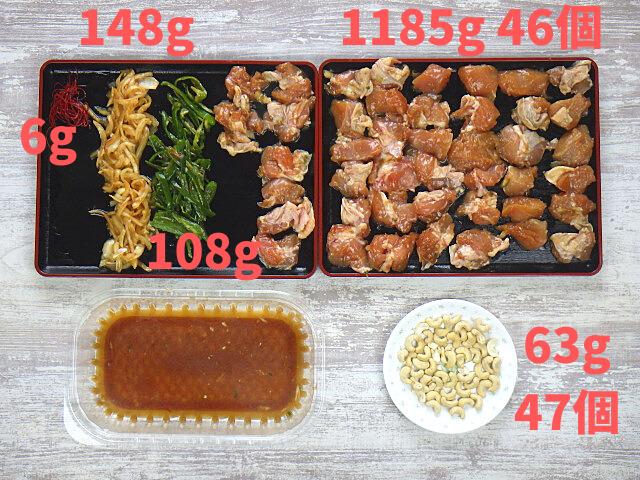 鶏肉カシューナッツ炒めの各重量