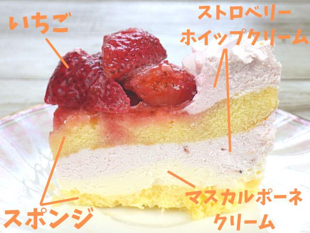 ストロベリーマスカルポーネケーキの断面図詳細