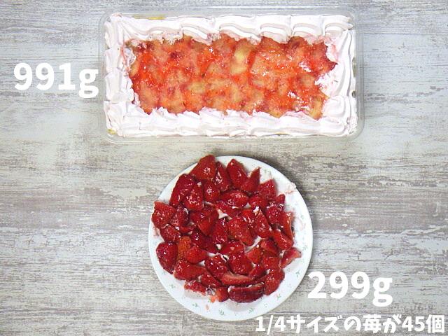 ストロベリーマスカルポーネケーキの各具材の量
