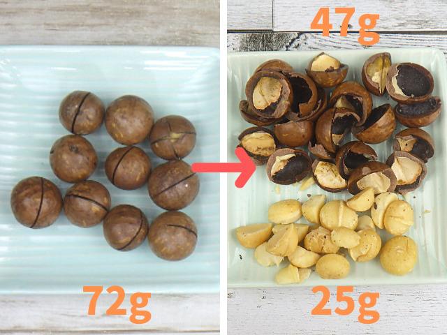 コストコの殻付きマカダミアナッツの可食部分の割合調査