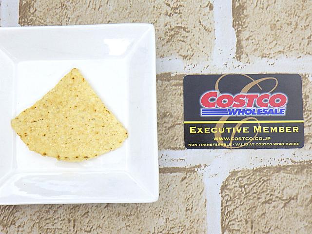 コストコのオーガニックホワイトコーントルティーヤチップスの1枚サイズ