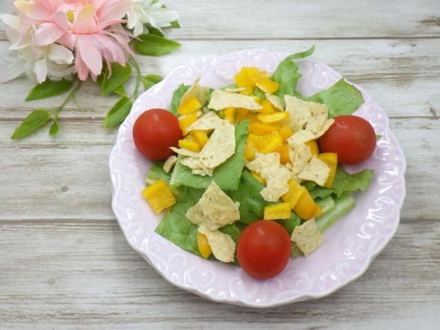 コストコのオーガニックホワイトコーントルティーヤチップスのサラダアレンジ