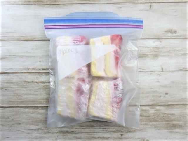 コストコのダブルストロベリーケーキの1カット分の冷凍方法