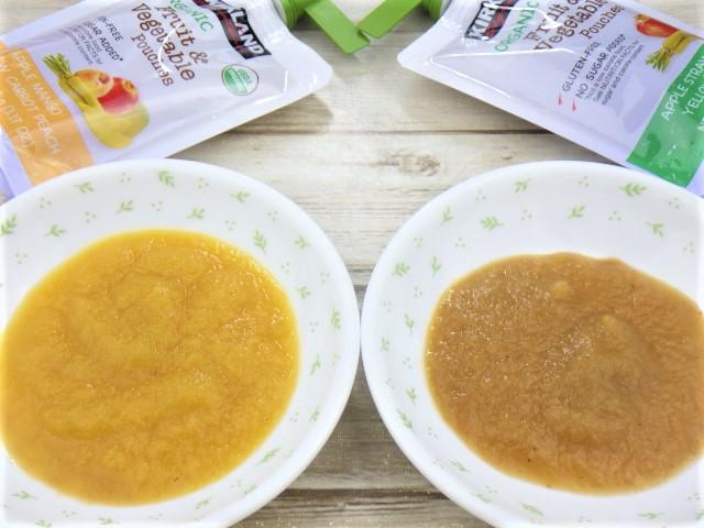 コストコのオーガニック フルーツ&ベジタブルパウチのアップ