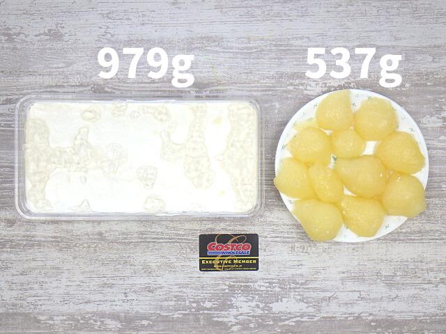 コストコの洋梨パンナコッタムースケーキの土台とのっている洋梨の量